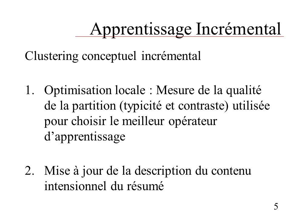 Apprentissage Incrémental Clustering conceptuel incrémental 1.Optimisation locale : Mesure de la qualité de la partition (typicité et contraste) utili