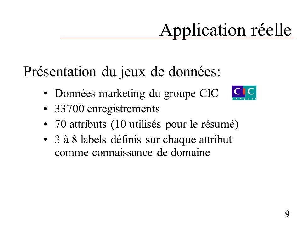 Application réelle Données marketing du groupe CIC 33700 enregistrements 70 attributs (10 utilisés pour le résumé) 3 à 8 labels définis sur chaque att