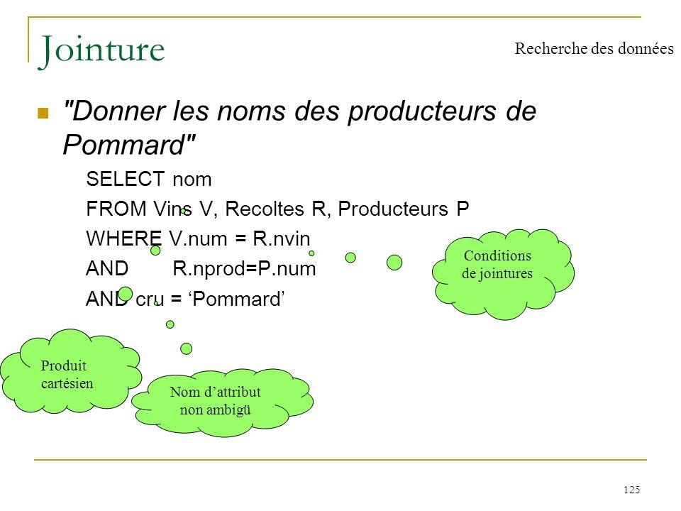 126 Jointure procédurale SELECT nom FROM Producteurs WHERE num IN ( SELECT nprod FROM Recoltes WHERE nvin IN ( SELECT num FROM Vins WHERE cru = Pommard)) Recherche des données
