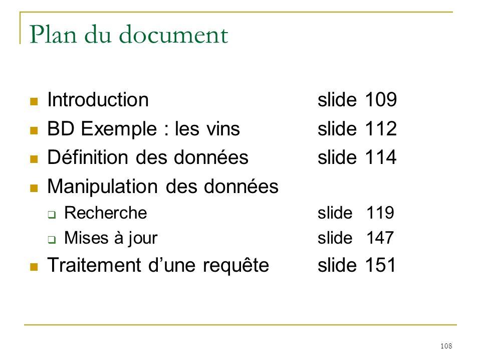 109 Langages de requêtes Langage de requêtes Langage de Définition de Données Langage de Manipulation de Données Langages de manipulation formels algèbre relationnelle calcul relationnel (basé sur la logique des prédicats) Langages de requêtes orientés utilisateur Structured Query Language (SQL) QUEry Language (QUEL) Query By Example (QBE) Lien avec les langages de programmation immersion d un langage de requêtes dans un langage de programmation : approche Embedded SQL (Pascal, C,...) Introduction