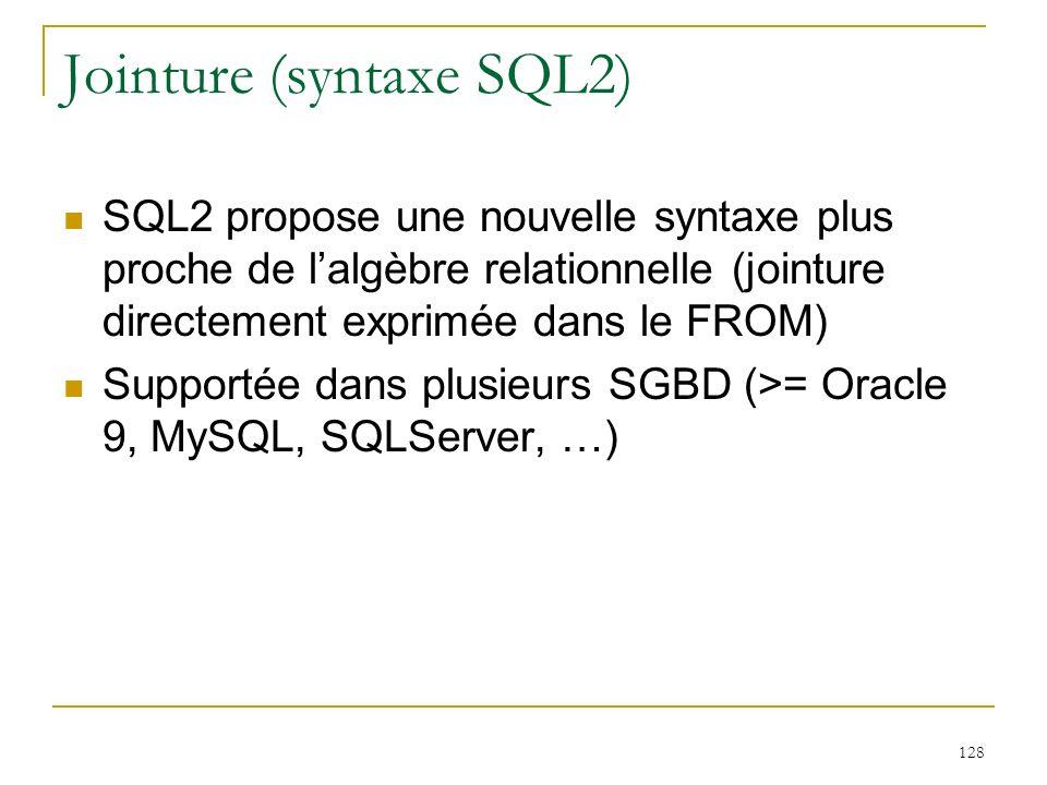 129 Exemples de jointure SQL2 Produit cartésien SELECT nom, prenom FROM vins CROSS JOIN recoltes Jointure SELECT nom FROM Vins V JOIN Recoltes R ON (V.num = R.nvin) JOIN Producteurs P ON (R.nprod=P.num) WHERE cru = Pommard Jointure « naturelle » Légalité sur les attributs de même nom peut être remplacée par NATURAL JOIN, ou JOIN … USING (attrs)