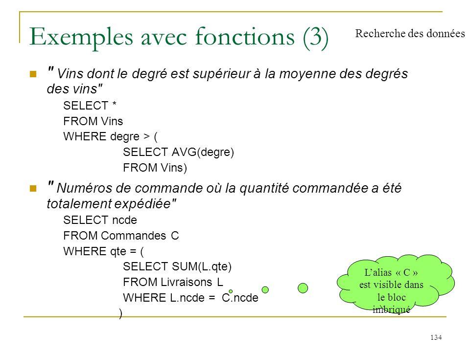135 Partitionnement Principe partitionnement horizontal d une relation, selon les valeurs d un attribut ou d un groupe d attributs qui est spécifié dans la clause GROUP BY la relation est (logiquement) fragmentée en groupes de tuples, où tous les tuples de chaque groupe ont la même valeur pour l attribut (ou le groupe d attributs) de partitionnement Fonctions sur les groupes Restrictions sur les groupes application possible d un critère de restriction sur les groupes obtenus clause HAVING Recherche des données