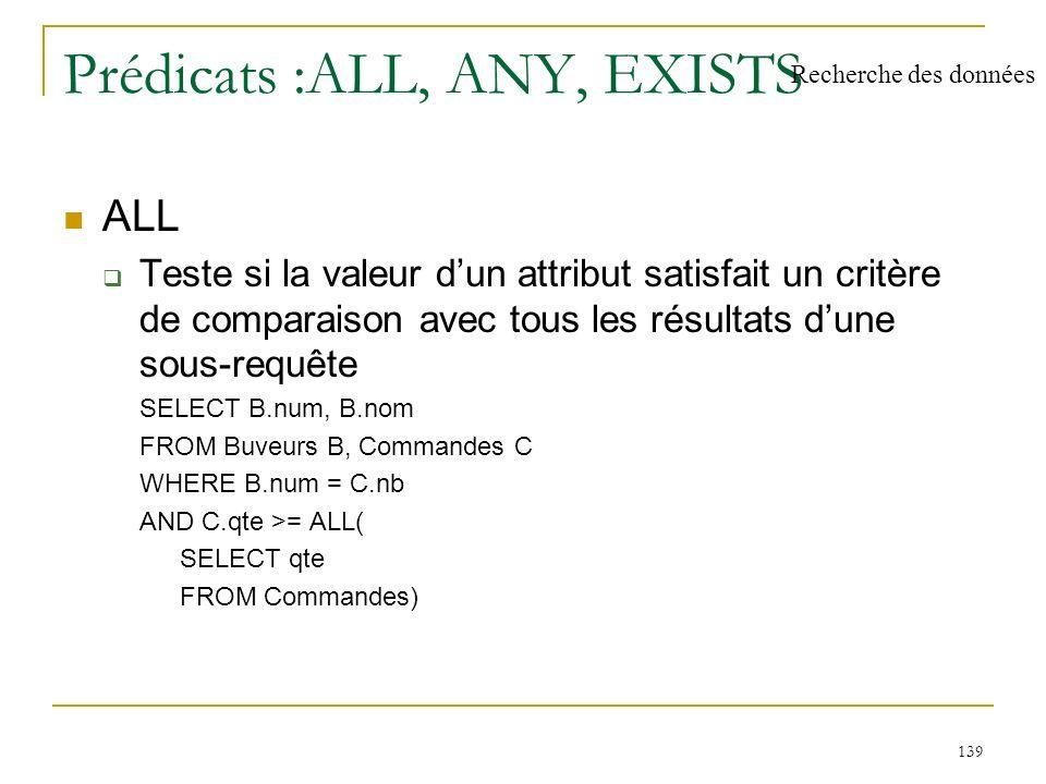 140 Prédicats (2) ANY : Teste si la valeur dun attribut satisfait un critère de comparaison avec au moins un résultat dune sous-requête SELECT B.nb, B.nom FROM Buveurs B, Commandes C WHERE B.nb = C.nb AND C.qte > ANY ( SELECT qte FROM Commandes ) Recherche des données