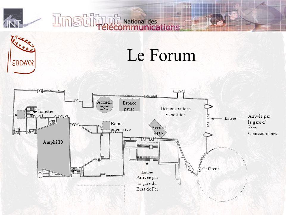 Entrée Arrivée par la gare du Bras de Fer Accueil INT Démonstrations Exposition Espace pause Accueil BDA Borne interactive Cafétéria Amphi 10 Toilettes Entrée Arrivée par la gare d Évry Courcouronnes Le Forum