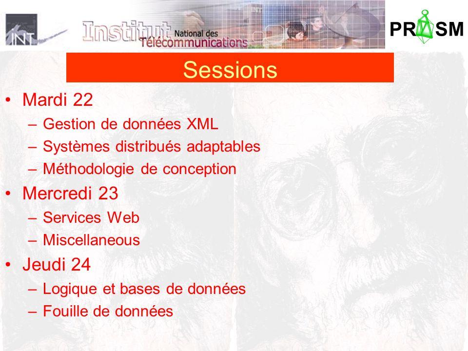 PR SM Mardi 22 –Gestion de données XML –Systèmes distribués adaptables –Méthodologie de conception Mercredi 23 –Services Web –Miscellaneous Jeudi 24 –Logique et bases de données –Fouille de données Sessions