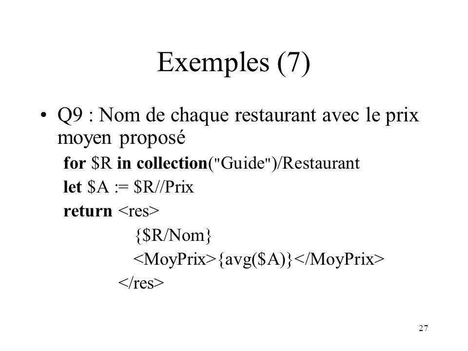 27 Exemples (7) Q9 : Nom de chaque restaurant avec le prix moyen proposé for $R in collection(