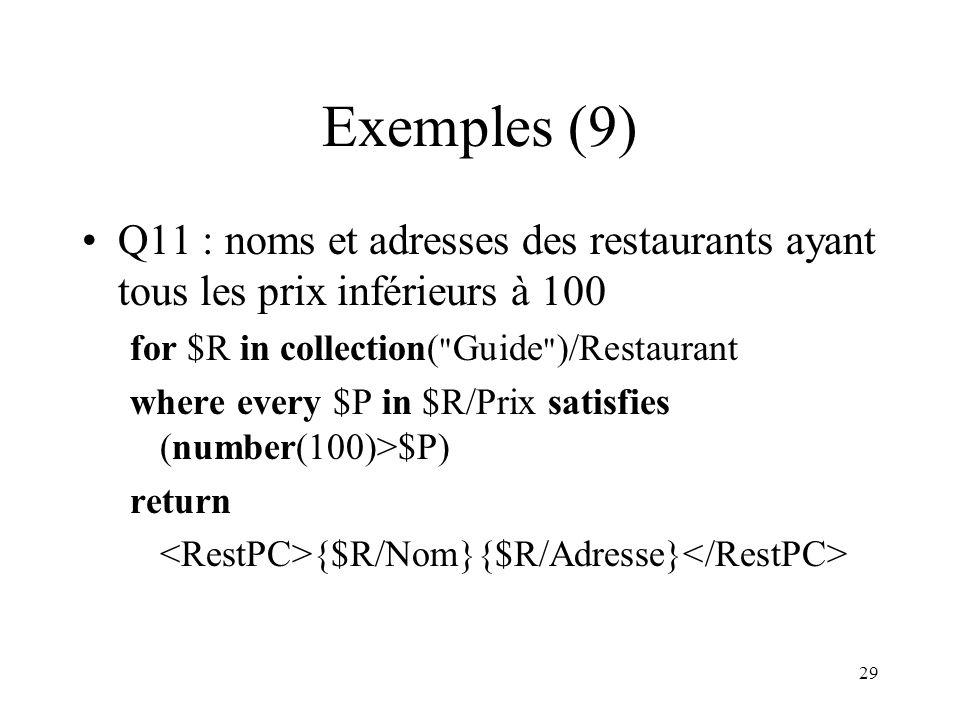 29 Exemples (9) Q11 : noms et adresses des restaurants ayant tous les prix inférieurs à 100 for $R in collection(