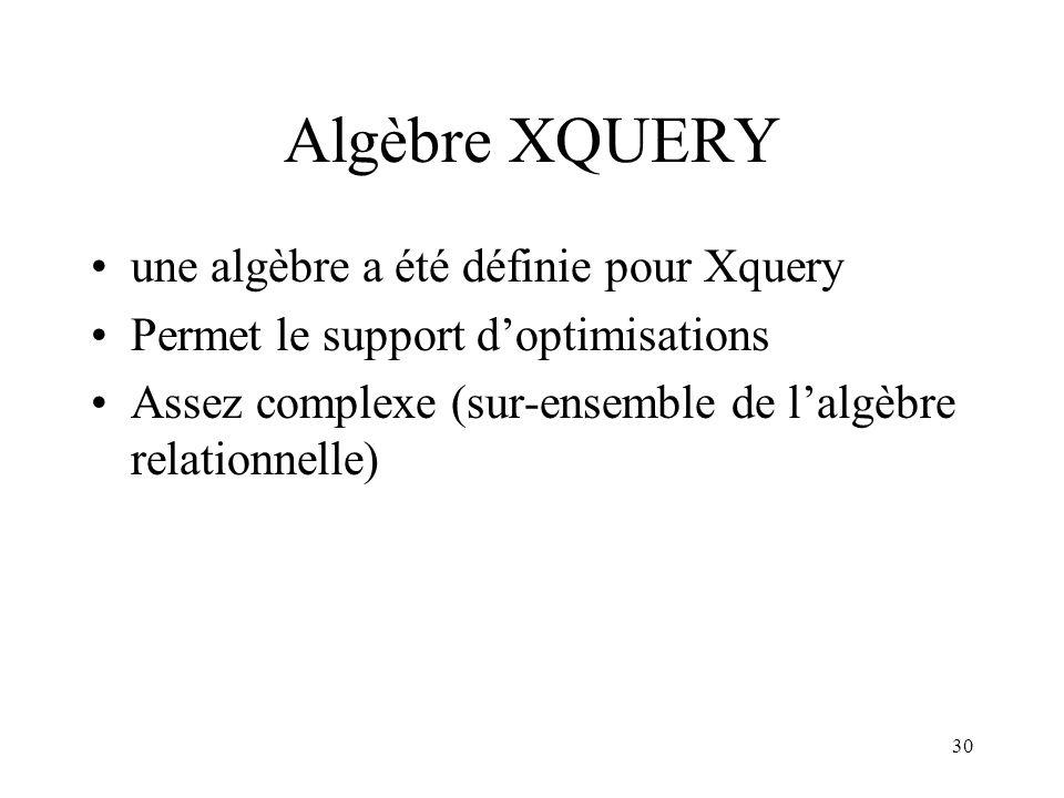 30 Algèbre XQUERY une algèbre a été définie pour Xquery Permet le support doptimisations Assez complexe (sur-ensemble de lalgèbre relationnelle)