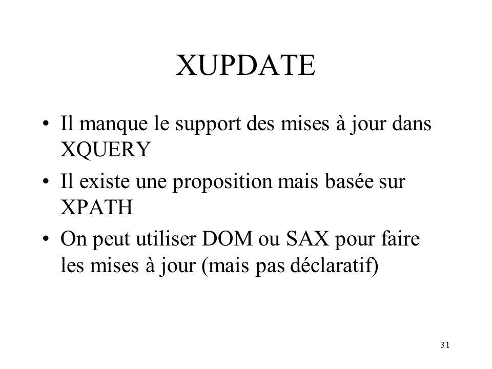 31 XUPDATE Il manque le support des mises à jour dans XQUERY Il existe une proposition mais basée sur XPATH On peut utiliser DOM ou SAX pour faire les