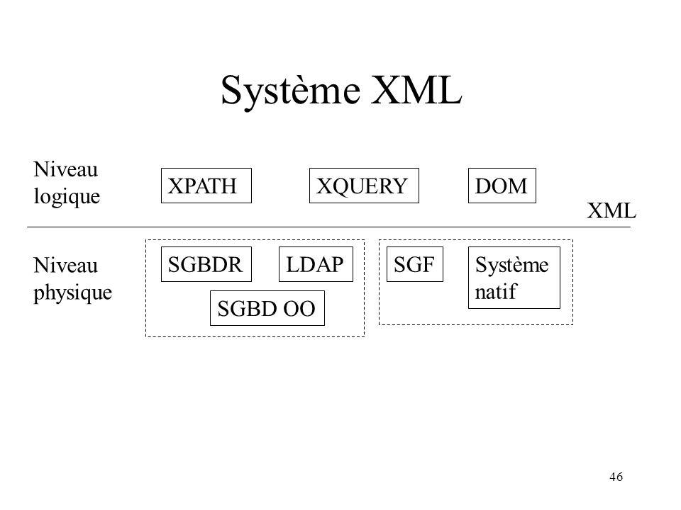 46 Système XML XPATHXQUERYDOM XML Niveau logique Niveau physique SGBDR SGBD OO LDAPSGFSystème natif