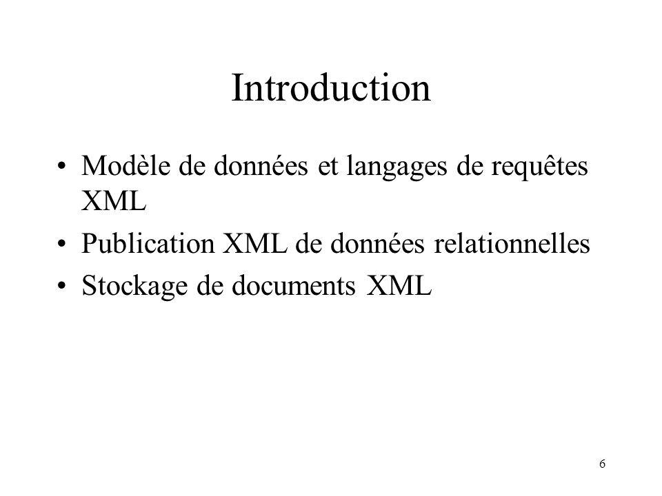 6 Introduction Modèle de données et langages de requêtes XML Publication XML de données relationnelles Stockage de documents XML