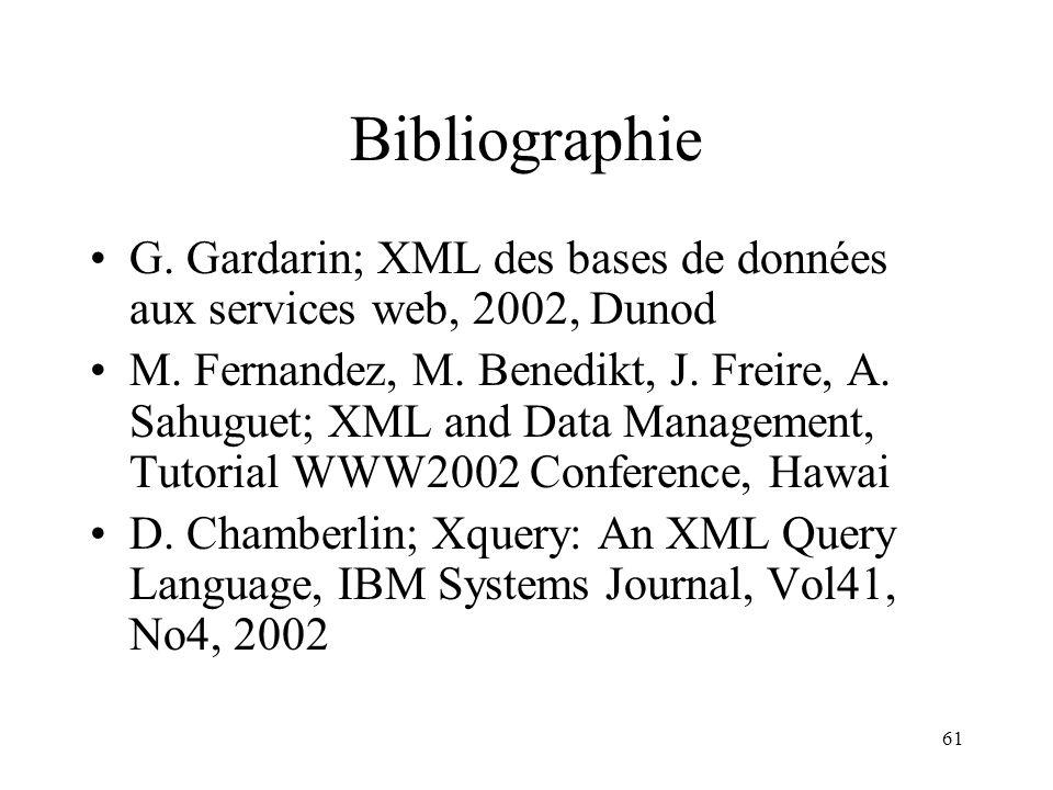 61 Bibliographie G. Gardarin; XML des bases de données aux services web, 2002, Dunod M. Fernandez, M. Benedikt, J. Freire, A. Sahuguet; XML and Data M