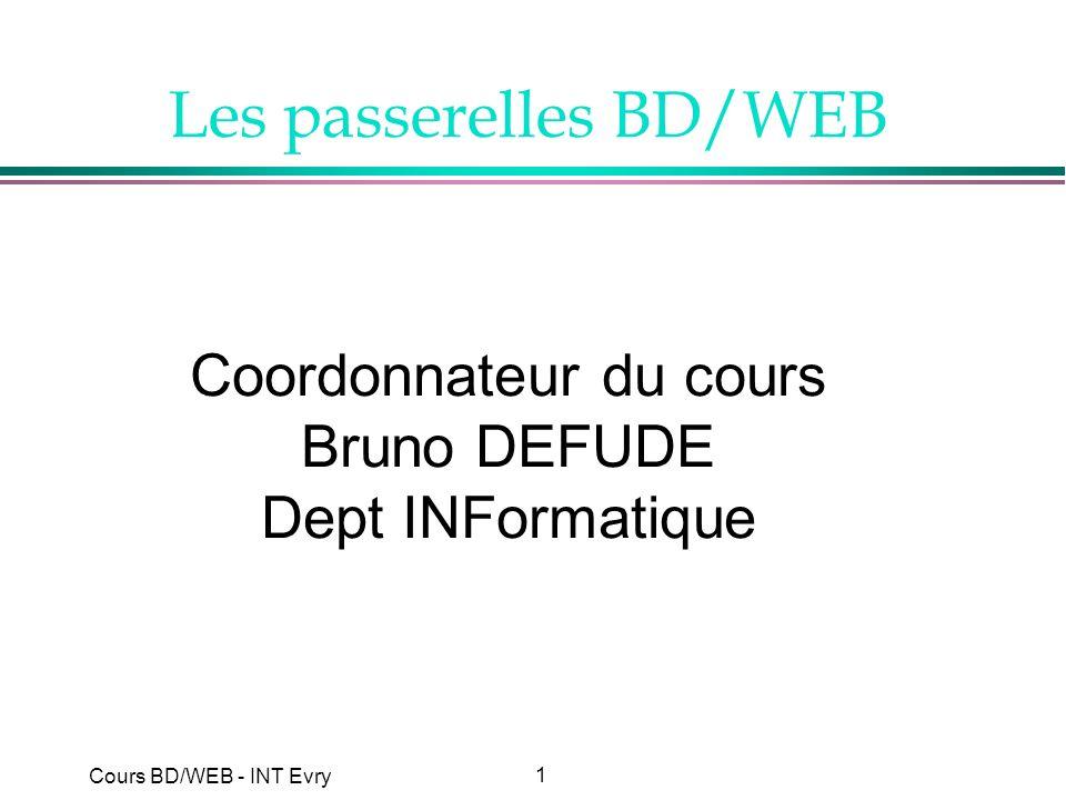 22 Cours BD/WEB - INT Evry Présentation de SQL (2) l Origine »langage SEQUEL du prototype de SGBD relationnel SYSTEM/R (74-76) »laboratoire de recherche IBM à San José l Normalisation ISO »norme SQL1 (1986, 1989) »norme SQL2 (1992) »nouvelle norme en préparation SQL3 l Langage de requêtes des SGBD relationnels »ORACLE (Oracle Corporation - 1977) »INGRES (Ingres Technology - 1980) »DB2 (IBM - 1984) »INFORMIX (Informix Inc - 1981) »SYBASE (Sybase Inc - 1984) »MySQL (1995) Introduction