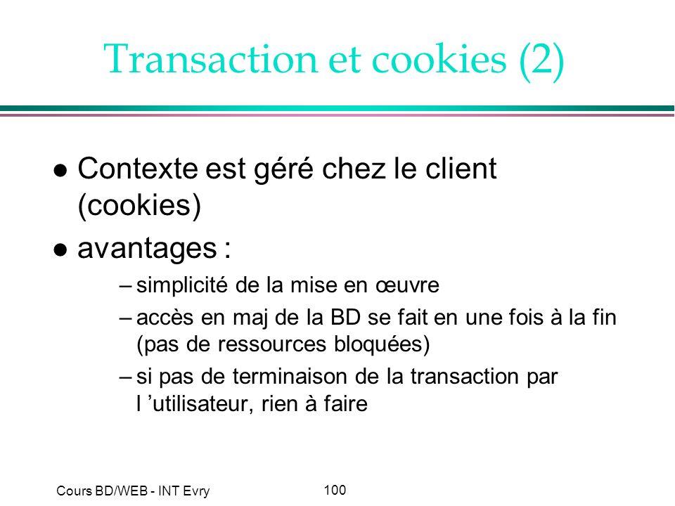 100 Cours BD/WEB - INT Evry Transaction et cookies (2) l Contexte est géré chez le client (cookies) l avantages : –simplicité de la mise en œuvre –acc