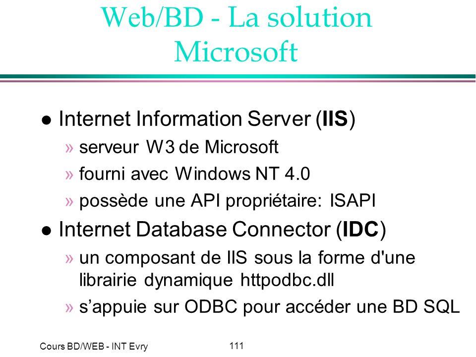111 Cours BD/WEB - INT Evry Web/BD - La solution Microsoft l Internet Information Server (IIS) »serveur W3 de Microsoft »fourni avec Windows NT 4.0 »p