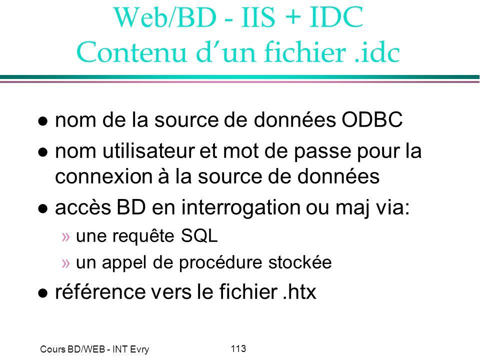 113 Cours BD/WEB - INT Evry Web/BD - IIS + IDC Contenu dun fichier.idc l nom de la source de données ODBC l nom utilisateur et mot de passe pour la co