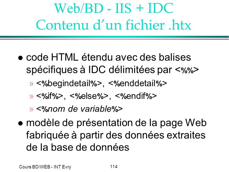 114 Cours BD/WEB - INT Evry Web/BD - IIS + IDC Contenu dun fichier.htx l code HTML étendu avec des balises spécifiques à IDC délimitées par », »,, » l