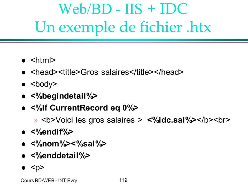 119 Cours BD/WEB - INT Evry Web/BD - IIS + IDC Un exemple de fichier.htx l l Gros salaires l » Voici les gros salaires > l