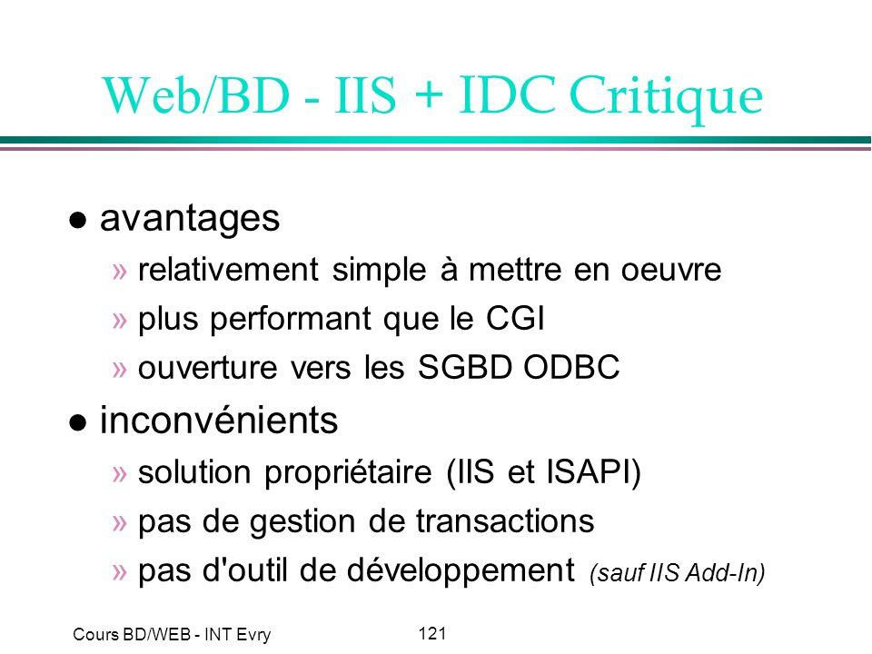 121 Cours BD/WEB - INT Evry Web/BD - IIS + IDC Critique l avantages »relativement simple à mettre en oeuvre »plus performant que le CGI »ouverture ver