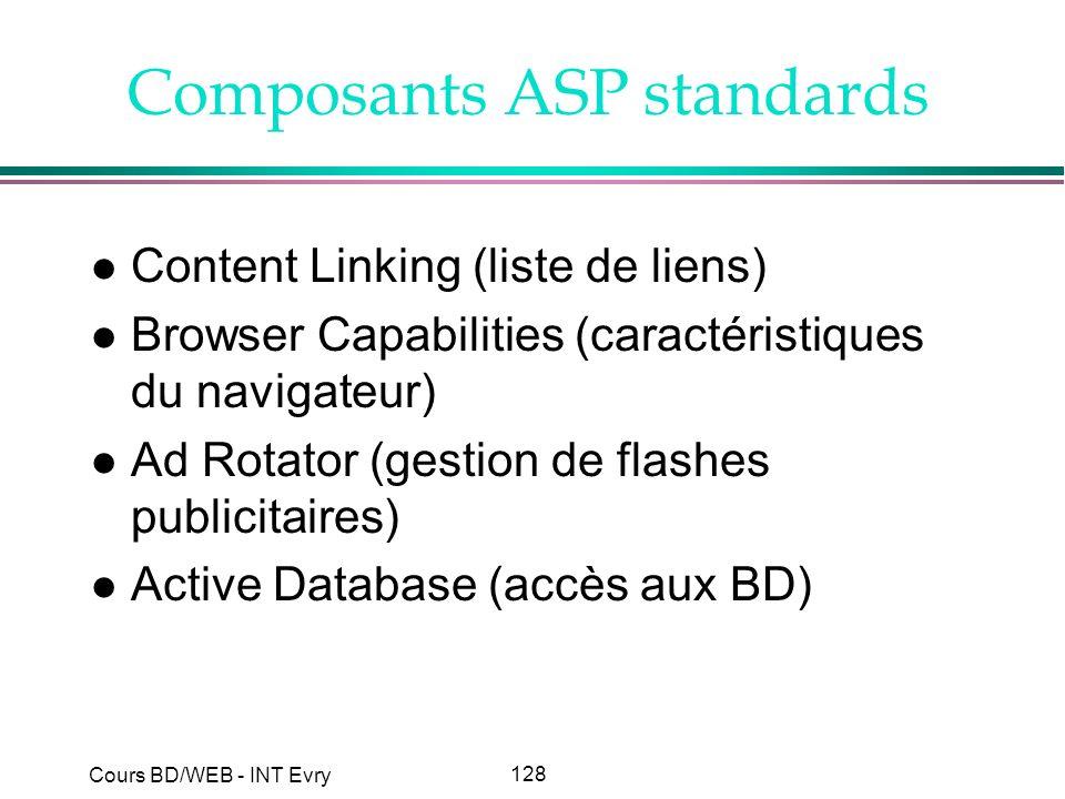 128 Cours BD/WEB - INT Evry Composants ASP standards l Content Linking (liste de liens) l Browser Capabilities (caractéristiques du navigateur) l Ad R