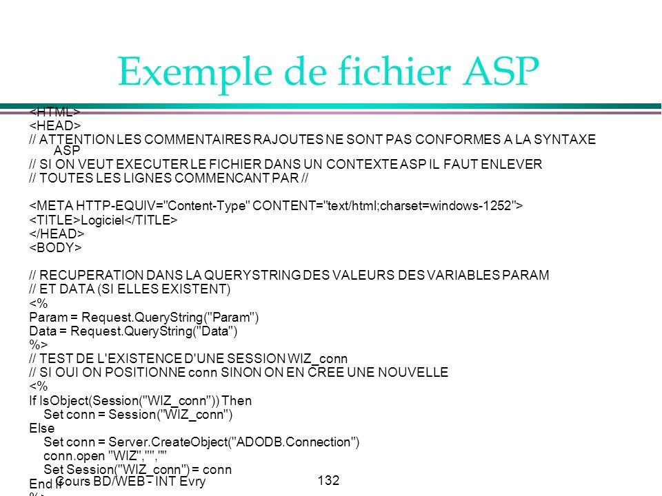 132 Cours BD/WEB - INT Evry Exemple de fichier ASP // ATTENTION LES COMMENTAIRES RAJOUTES NE SONT PAS CONFORMES A LA SYNTAXE ASP // SI ON VEUT EXECUTE