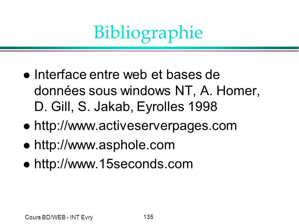 135 Cours BD/WEB - INT Evry Bibliographie l Interface entre web et bases de données sous windows NT, A. Homer, D. Gill, S. Jakab, Eyrolles 1998 l http