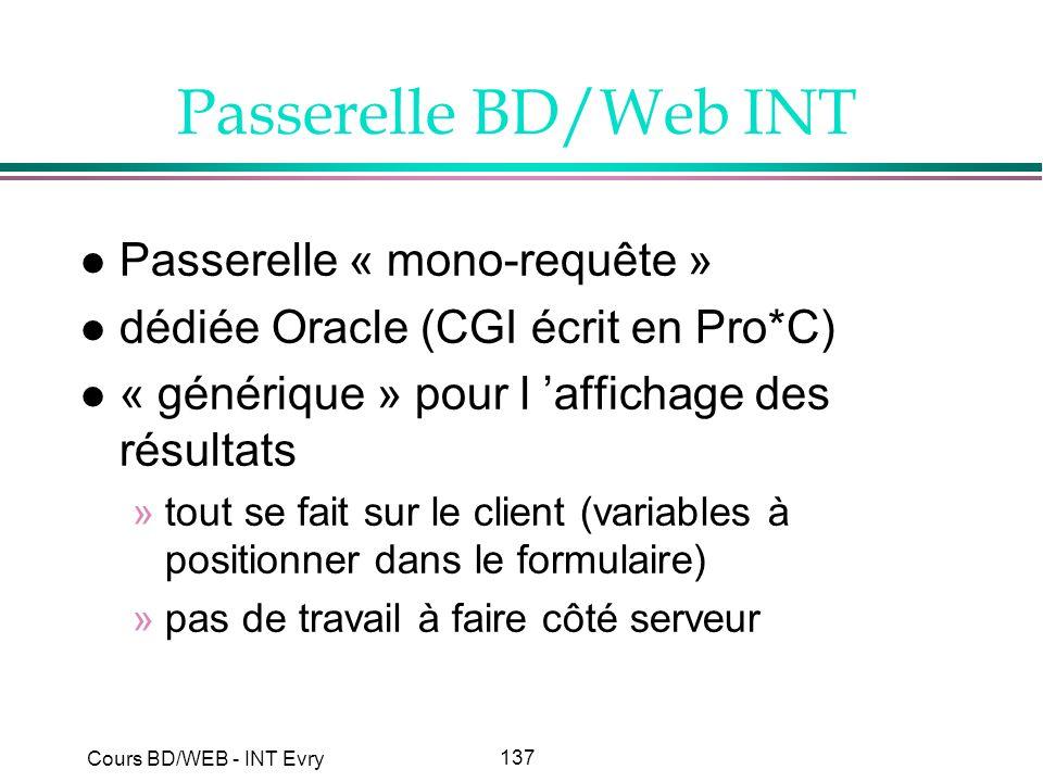 137 Cours BD/WEB - INT Evry Passerelle BD/Web INT l Passerelle « mono-requête » l dédiée Oracle (CGI écrit en Pro*C) l « générique » pour l affichage