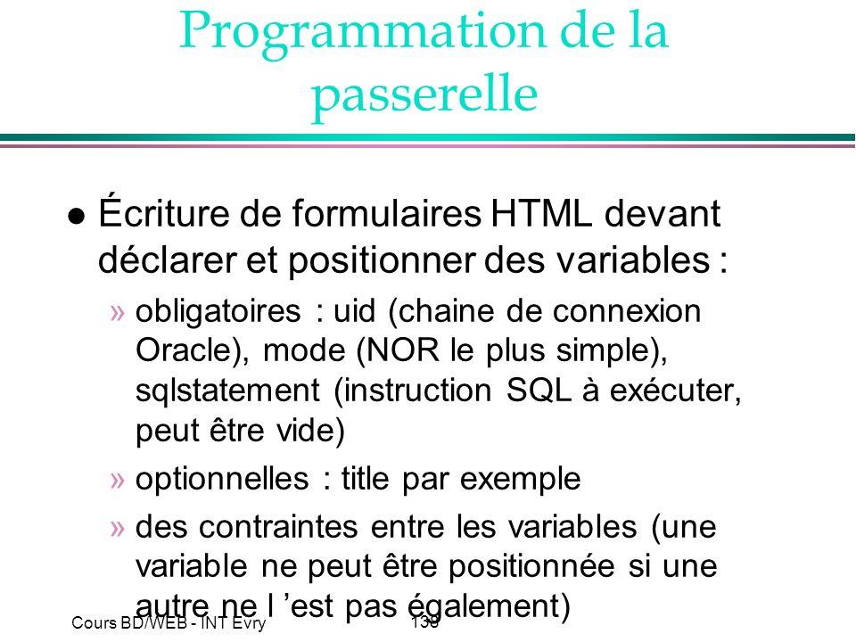 138 Cours BD/WEB - INT Evry Programmation de la passerelle l Écriture de formulaires HTML devant déclarer et positionner des variables : »obligatoires