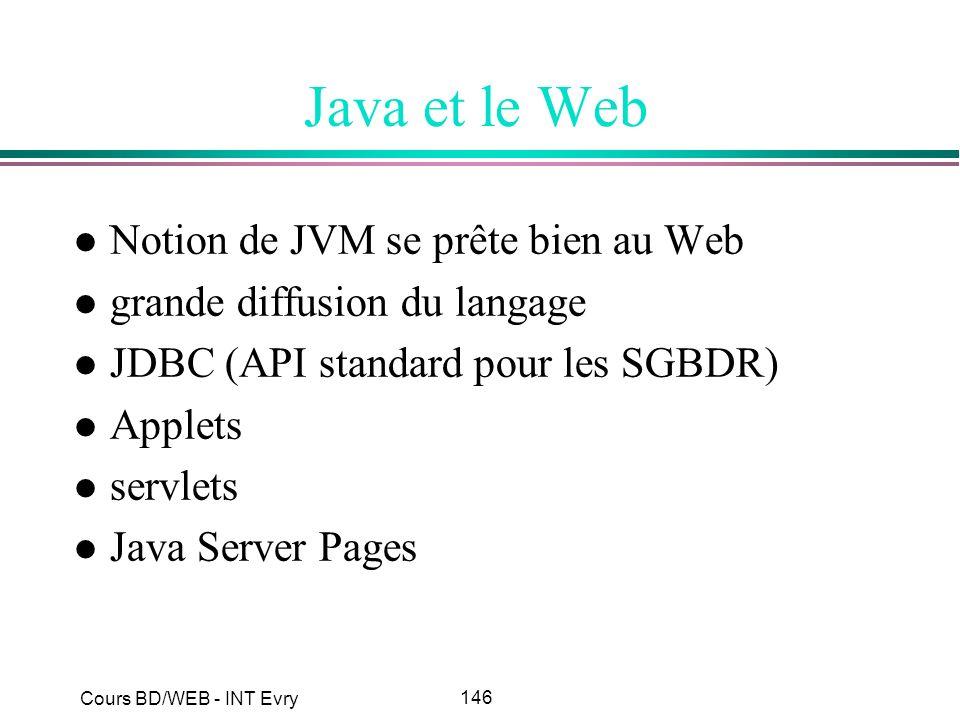 146 Cours BD/WEB - INT Evry Java et le Web l Notion de JVM se prête bien au Web l grande diffusion du langage l JDBC (API standard pour les SGBDR) l A
