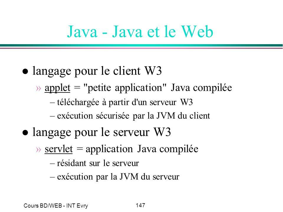 147 Cours BD/WEB - INT Evry Java - Java et le Web l langage pour le client W3 »applet =