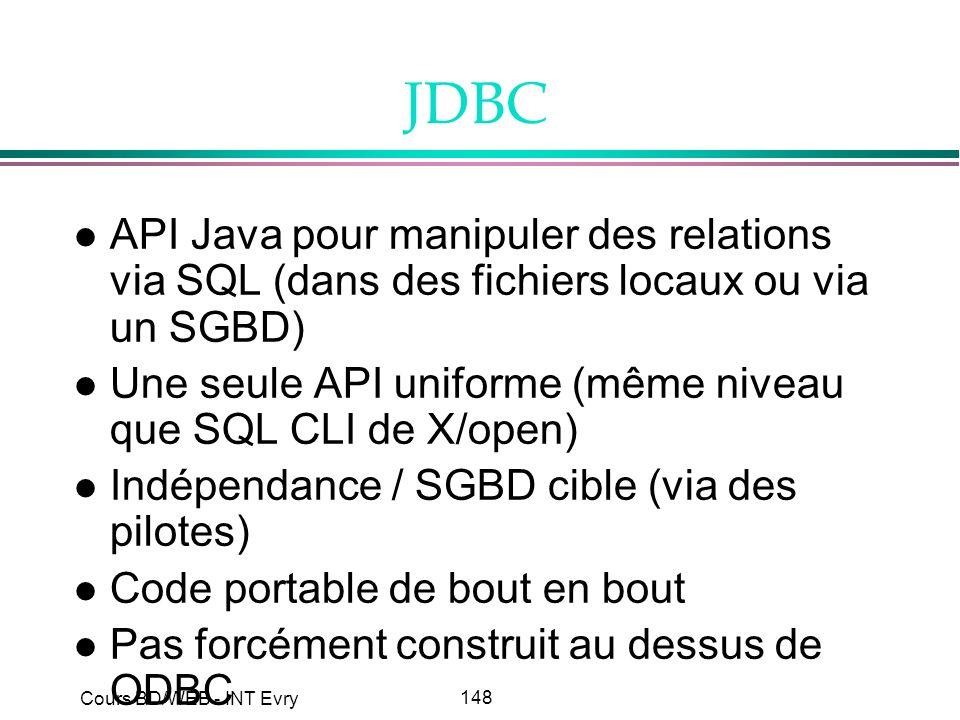 148 Cours BD/WEB - INT Evry JDBC l API Java pour manipuler des relations via SQL (dans des fichiers locaux ou via un SGBD) l Une seule API uniforme (m