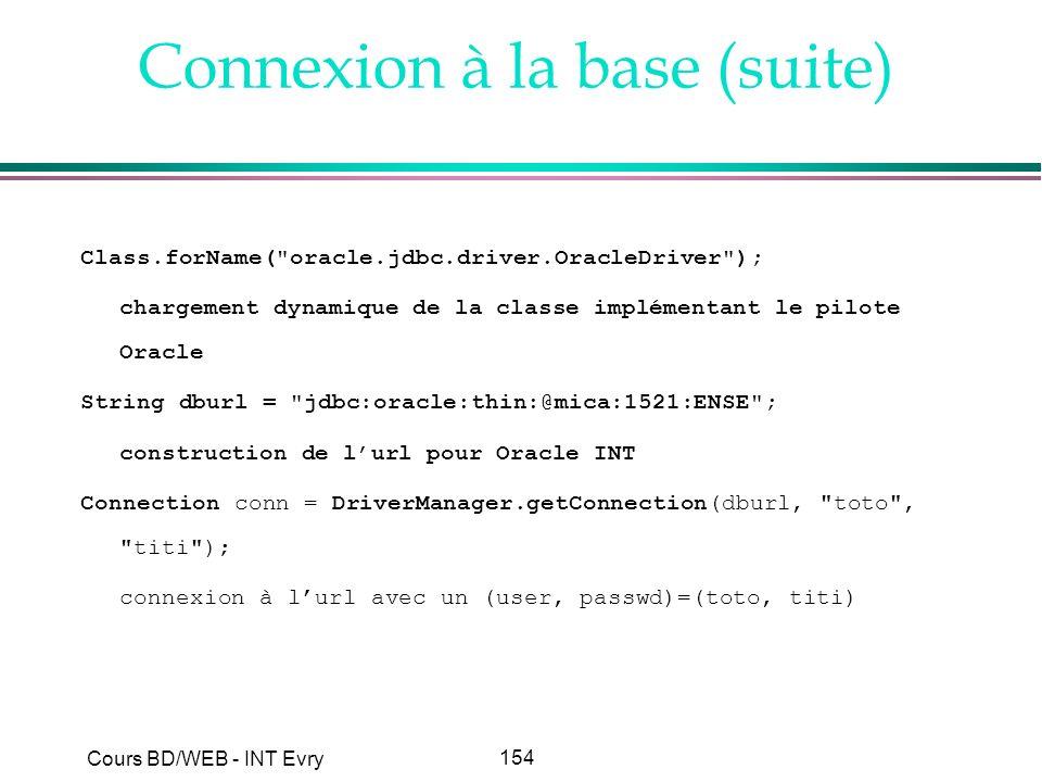 154 Cours BD/WEB - INT Evry Connexion à la base (suite) Class.forName(