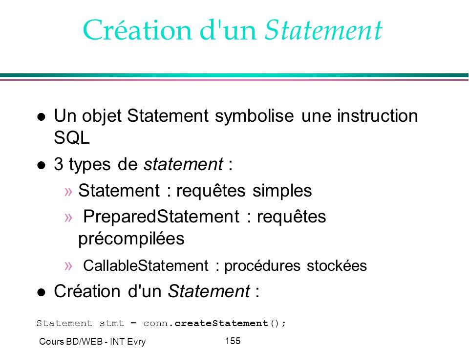155 Cours BD/WEB - INT Evry Création d'un Statement l Un objet Statement symbolise une instruction SQL l 3 types de statement : »Statement : requêtes