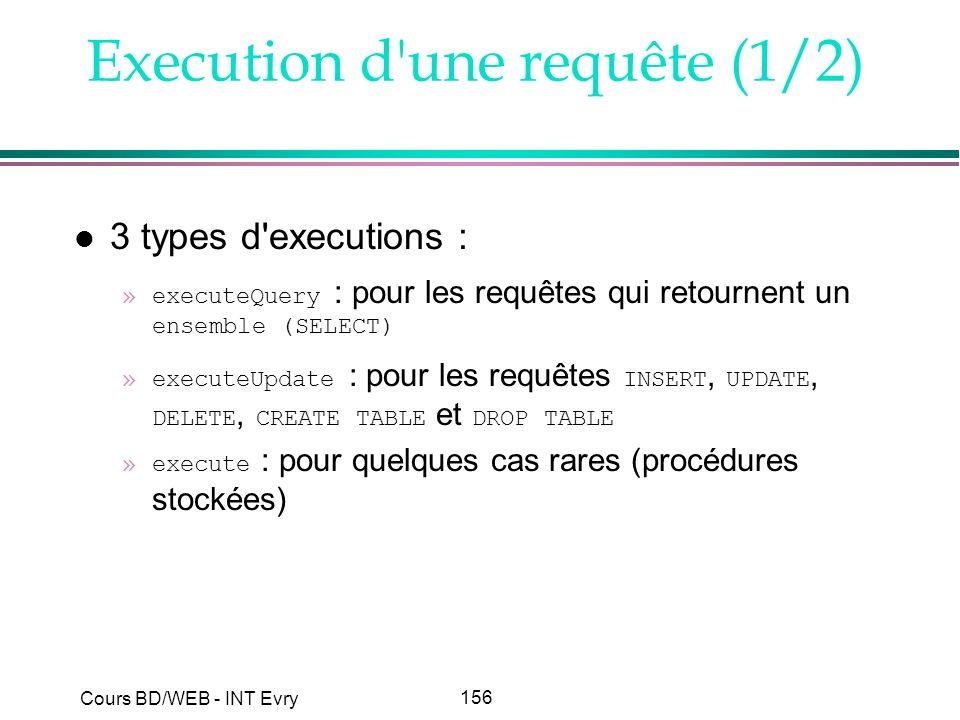 156 Cours BD/WEB - INT Evry Execution d'une requête (1/2) l 3 types d'executions : »executeQuery : pour les requêtes qui retournent un ensemble (SELEC