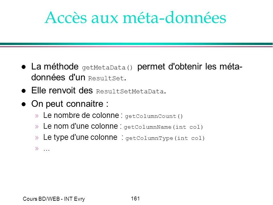 161 Cours BD/WEB - INT Evry Accès aux méta-données La méthode getMetaData() permet d'obtenir les méta- données d'un ResultSet. Elle renvoit des Result
