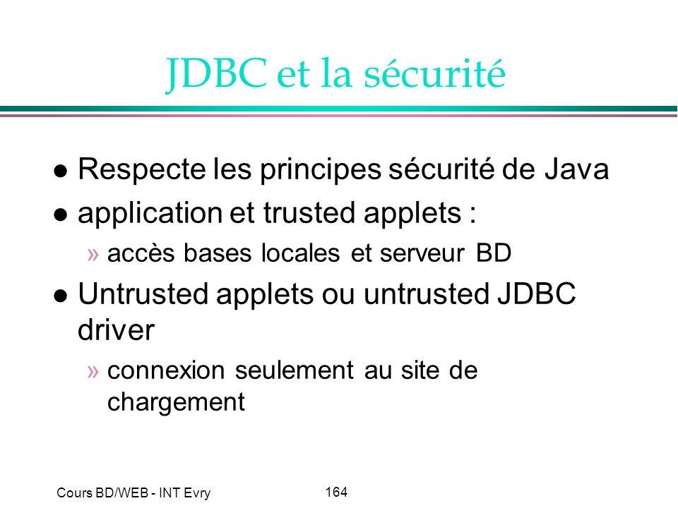 164 Cours BD/WEB - INT Evry JDBC et la sécurité l Respecte les principes sécurité de Java l application et trusted applets : »accès bases locales et s