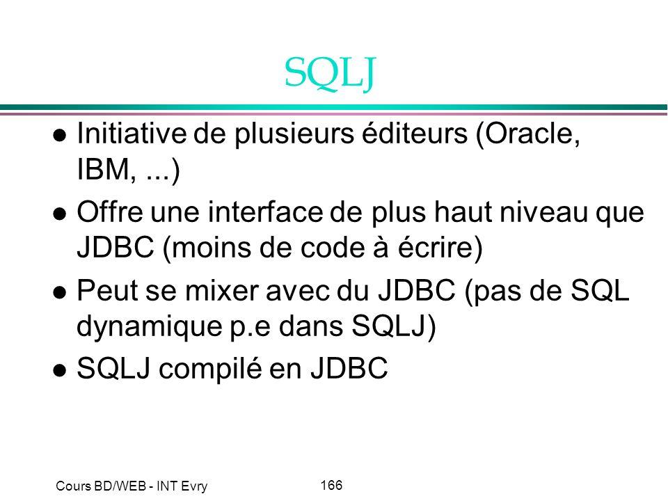 166 Cours BD/WEB - INT Evry SQLJ l Initiative de plusieurs éditeurs (Oracle, IBM,...) l Offre une interface de plus haut niveau que JDBC (moins de cod