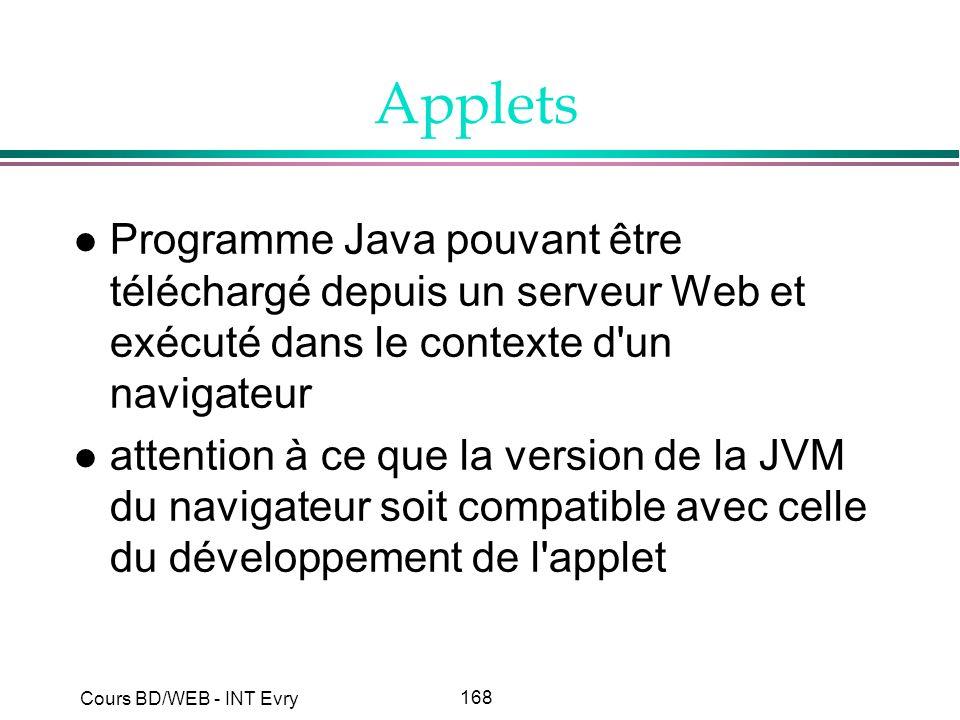 168 Cours BD/WEB - INT Evry Applets l Programme Java pouvant être téléchargé depuis un serveur Web et exécuté dans le contexte d'un navigateur l atten