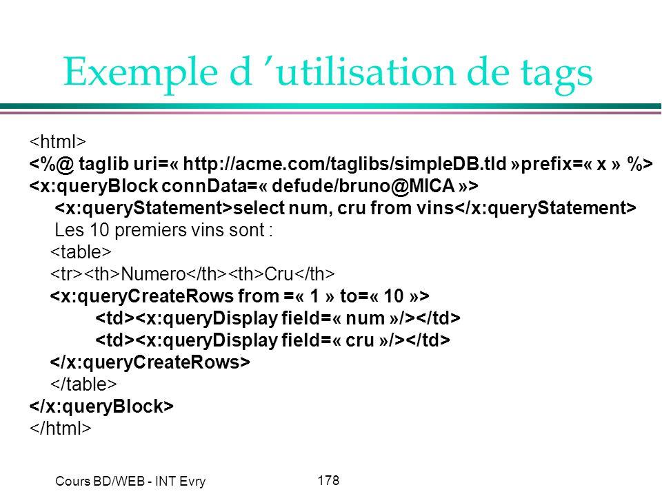 178 Cours BD/WEB - INT Evry Exemple d utilisation de tags select num, cru from vins Les 10 premiers vins sont : Numero Cru