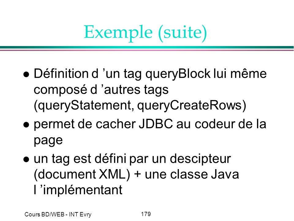 179 Cours BD/WEB - INT Evry Exemple (suite) l Définition d un tag queryBlock lui même composé d autres tags (queryStatement, queryCreateRows) l permet
