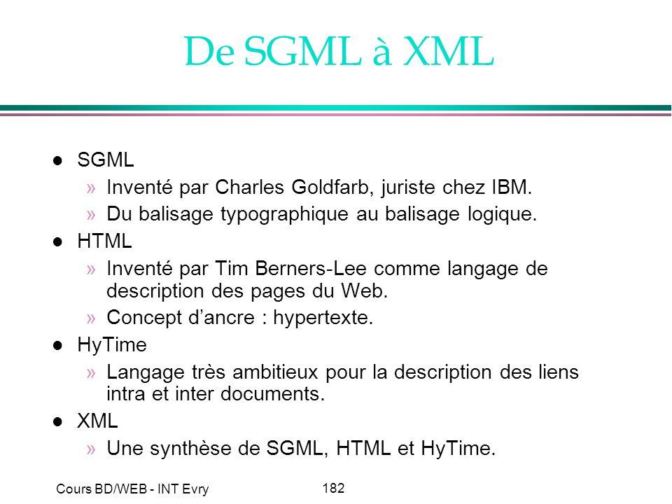 182 Cours BD/WEB - INT Evry De SGML à XML l SGML »Inventé par Charles Goldfarb, juriste chez IBM. »Du balisage typographique au balisage logique. l HT