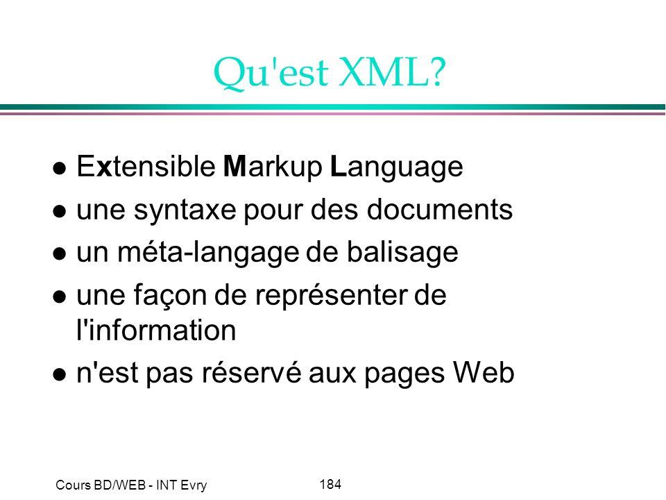 184 Cours BD/WEB - INT Evry Qu'est XML? l Extensible Markup Language l une syntaxe pour des documents l un méta-langage de balisage l une façon de rep