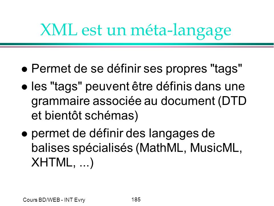 185 Cours BD/WEB - INT Evry XML est un méta-langage l Permet de se définir ses propres
