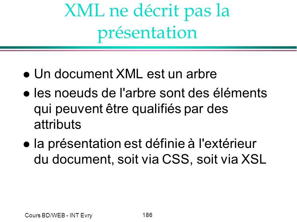 186 Cours BD/WEB - INT Evry XML ne décrit pas la présentation l Un document XML est un arbre l les noeuds de l'arbre sont des éléments qui peuvent êtr