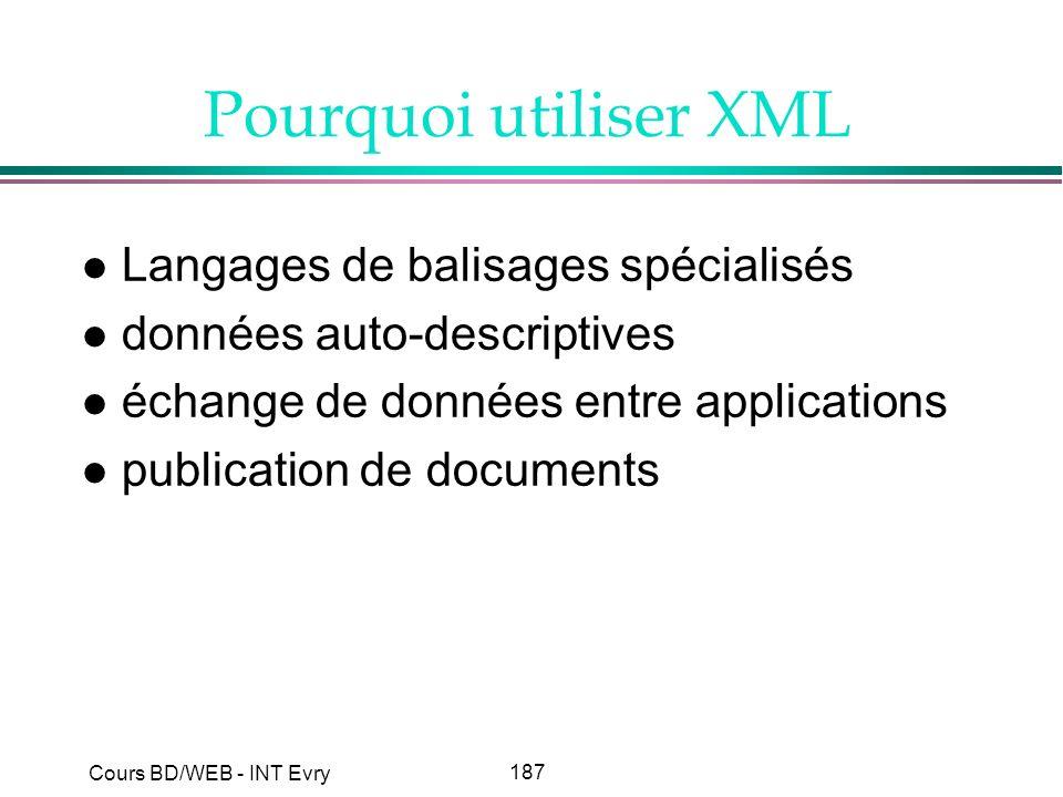 187 Cours BD/WEB - INT Evry Pourquoi utiliser XML l Langages de balisages spécialisés l données auto-descriptives l échange de données entre applicati