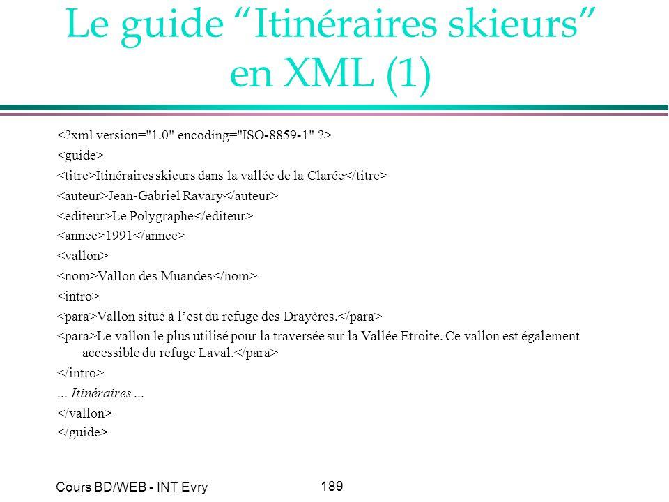 189 Cours BD/WEB - INT Evry Le guide Itinéraires skieurs en XML (1) Itinéraires skieurs dans la vallée de la Clarée Jean-Gabriel Ravary Le Polygraphe