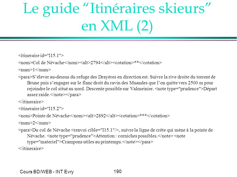 190 Cours BD/WEB - INT Evry Le guide Itinéraires skieurs en XML (2) Col de Névache 2794 ** 1 Sélever au-dessus du refuge des Drayères en direction est