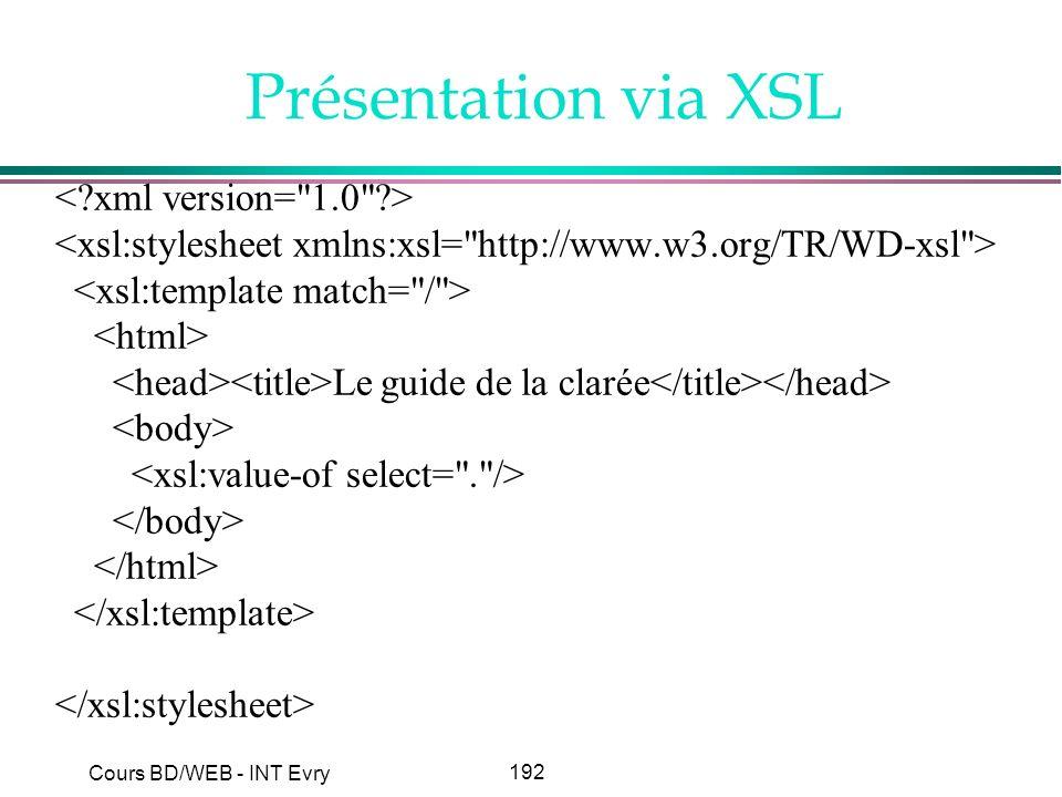 192 Cours BD/WEB - INT Evry Présentation via XSL Le guide de la clarée