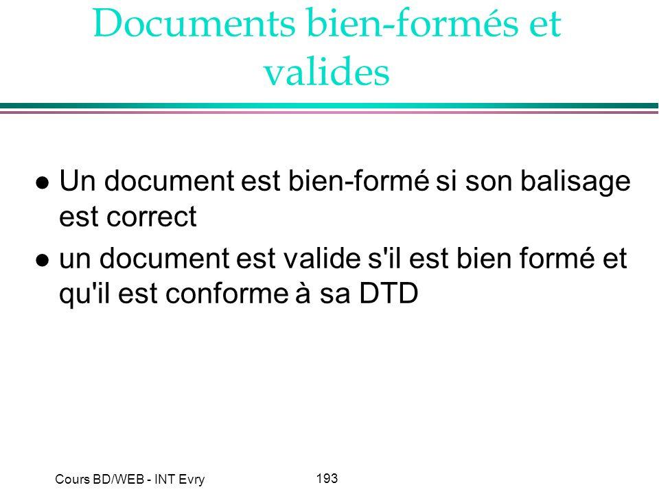 193 Cours BD/WEB - INT Evry Documents bien-formés et valides l Un document est bien-formé si son balisage est correct l un document est valide s'il es