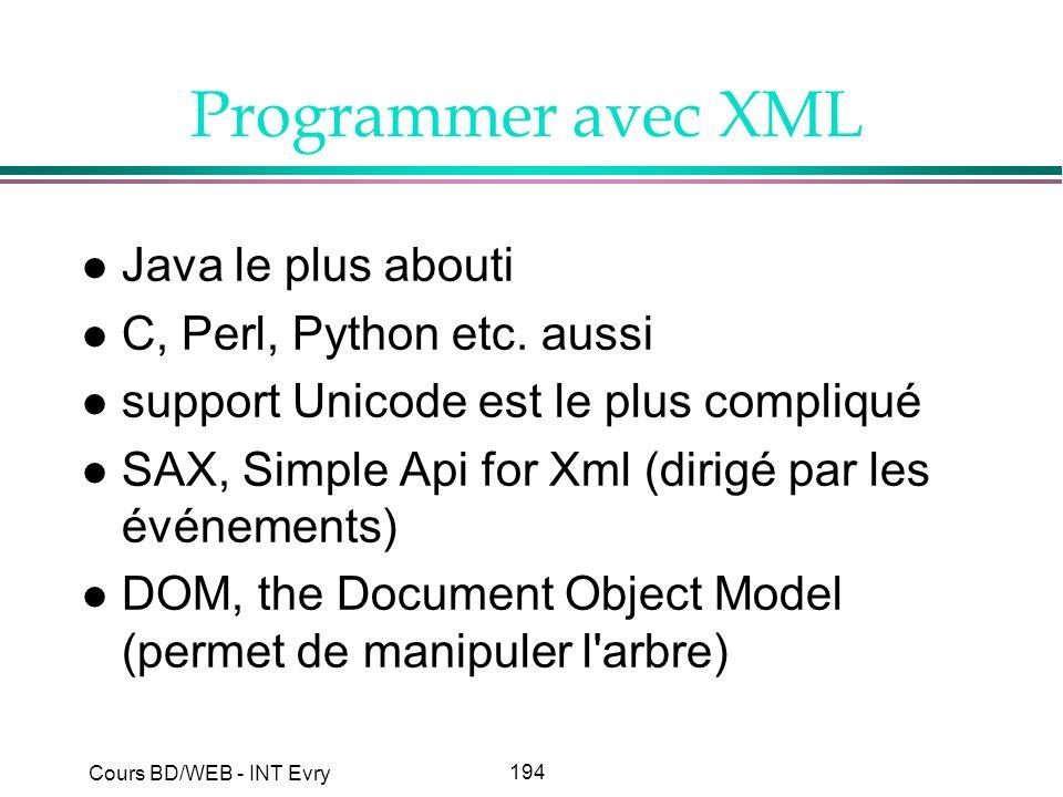 194 Cours BD/WEB - INT Evry Programmer avec XML l Java le plus abouti l C, Perl, Python etc. aussi l support Unicode est le plus compliqué l SAX, Simp